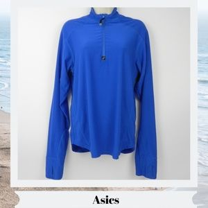 Asics womens small pullover 1/4 zip Blue